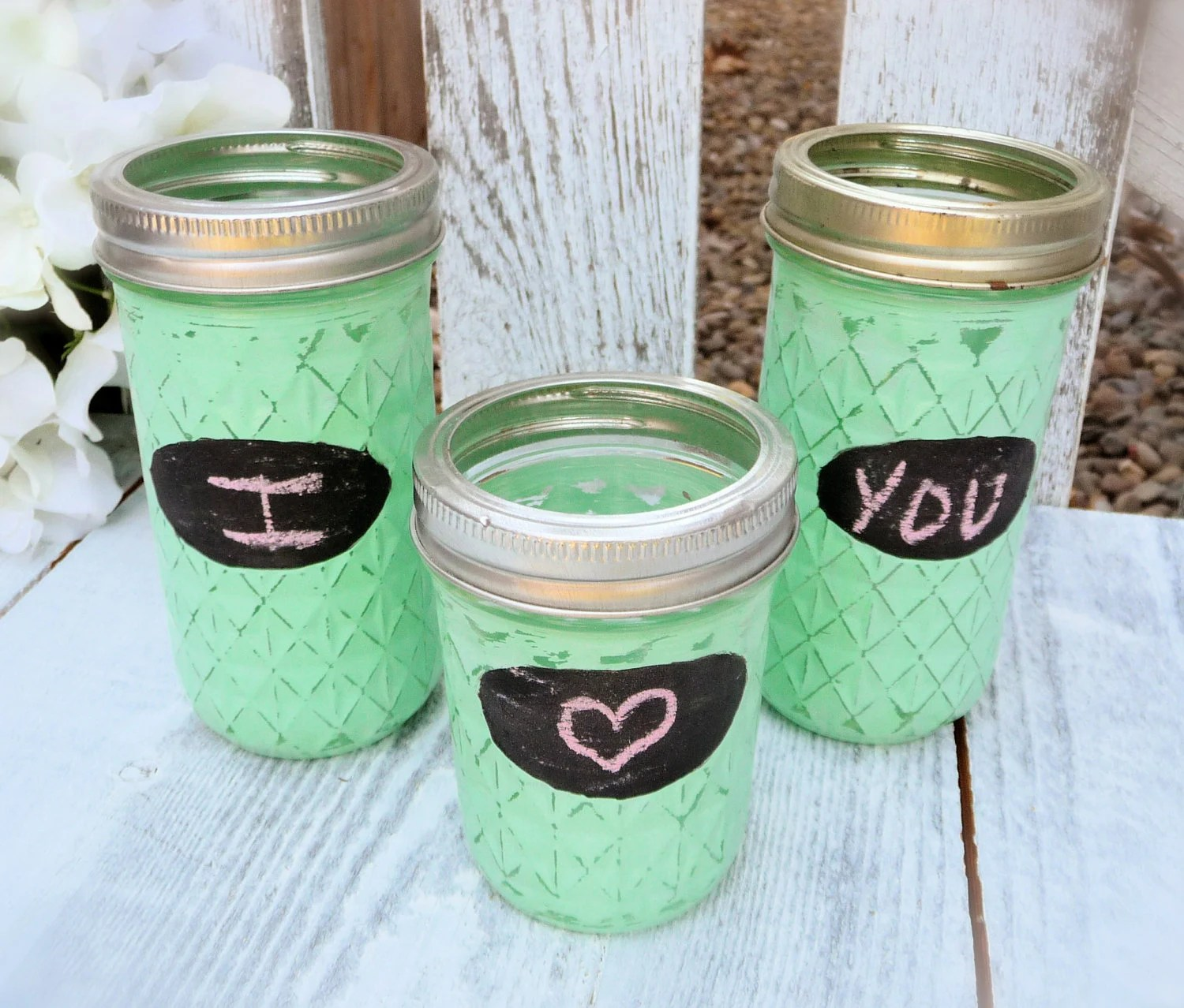 Set of 3 Upcycled Mason Jars Mint Green Vases with Chalkboard Ovals