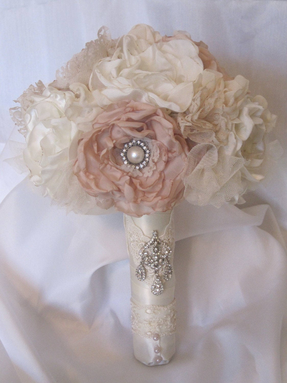 Wedding Bouquet Vintage Inspired Flower Brooch Bouquet Ivory