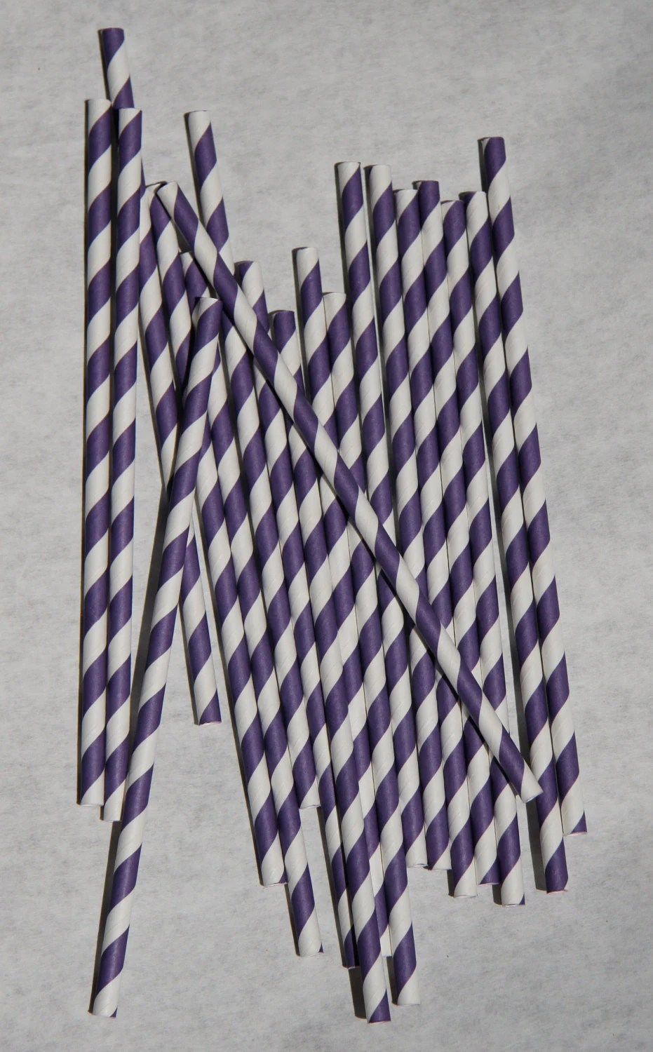 Purple Striped Paper Straw, Pack of 50, Violet Paper Straws