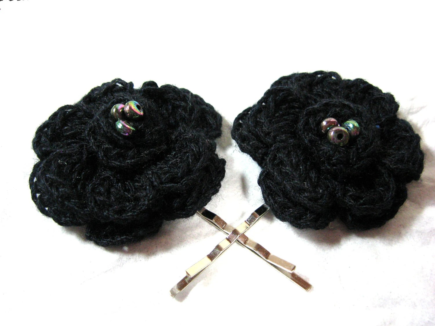 Flower Hair Clip Black Crocheted Beaded Bobby Pin 2 Piece Set - Stitcharific