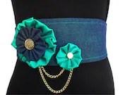 Denim Belt, Green Belt, Obi Belt, Wide Belt, Corset Belt with Fabric Flowers, Gold Chains and Buttons - DerekaGayle