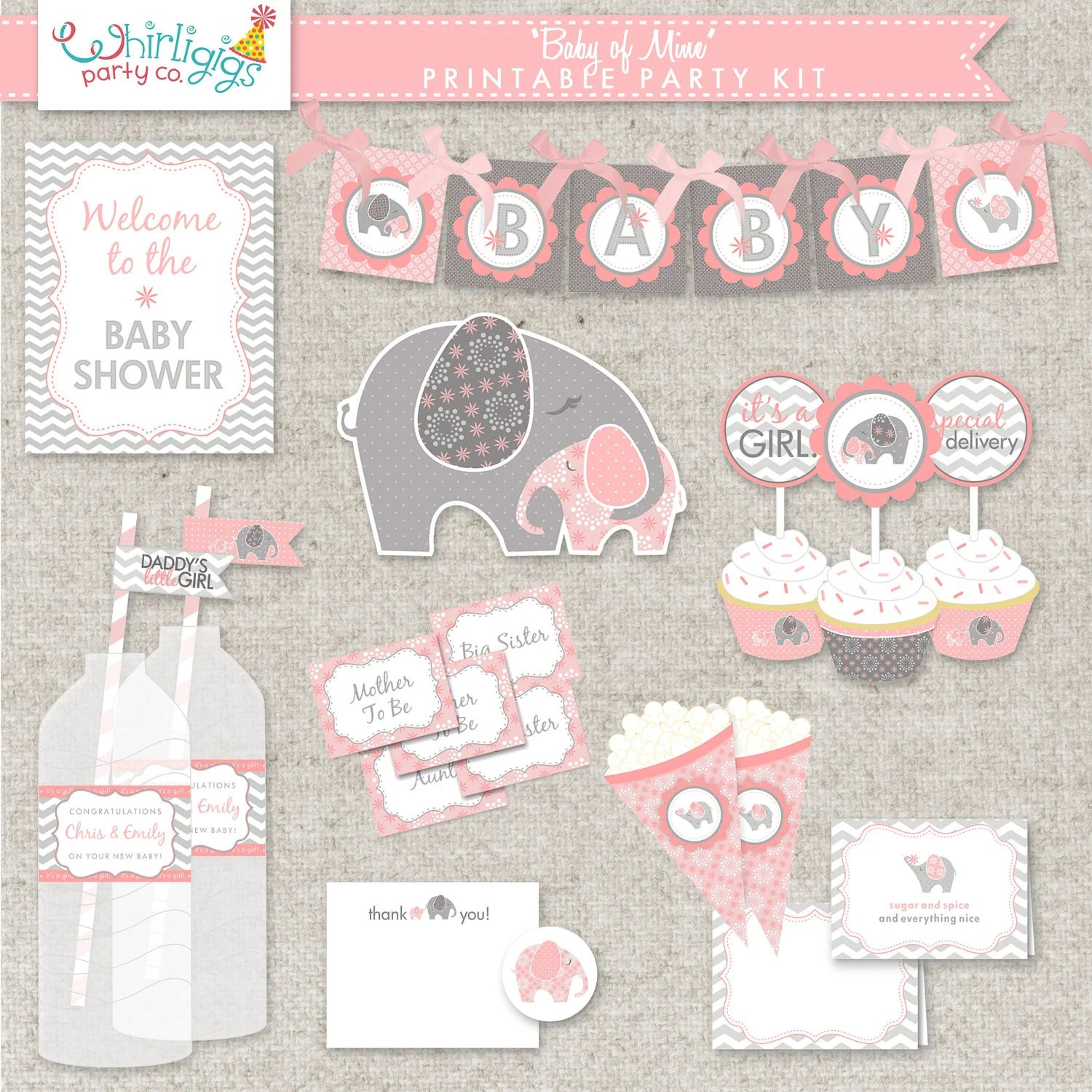 Diy Elephant Baby Shower Printable Party By Whirligigspartyco