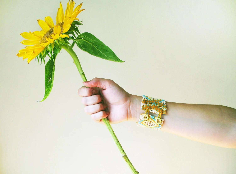 "Geometric Knit Bracelet Cuff ""Kickapoo"" with felt chevron and yellow buttons - HomewardHandmade"