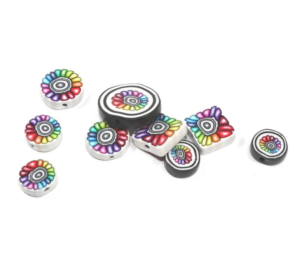 Polymer Clay flower colorful beads, unique set of rainbow beads, round and square beads with black and white rings. Set of 9 - ShuliDesigns