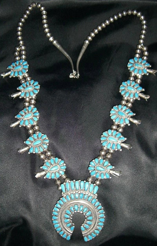 Vintage Zuni Squash Blossom Necklace Signed J Williams Reduced