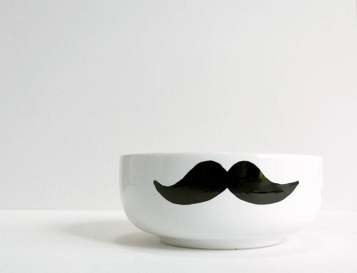 Mustache Bowl - Black Mustache Hand Drawn on White Bowl - RevellHouse