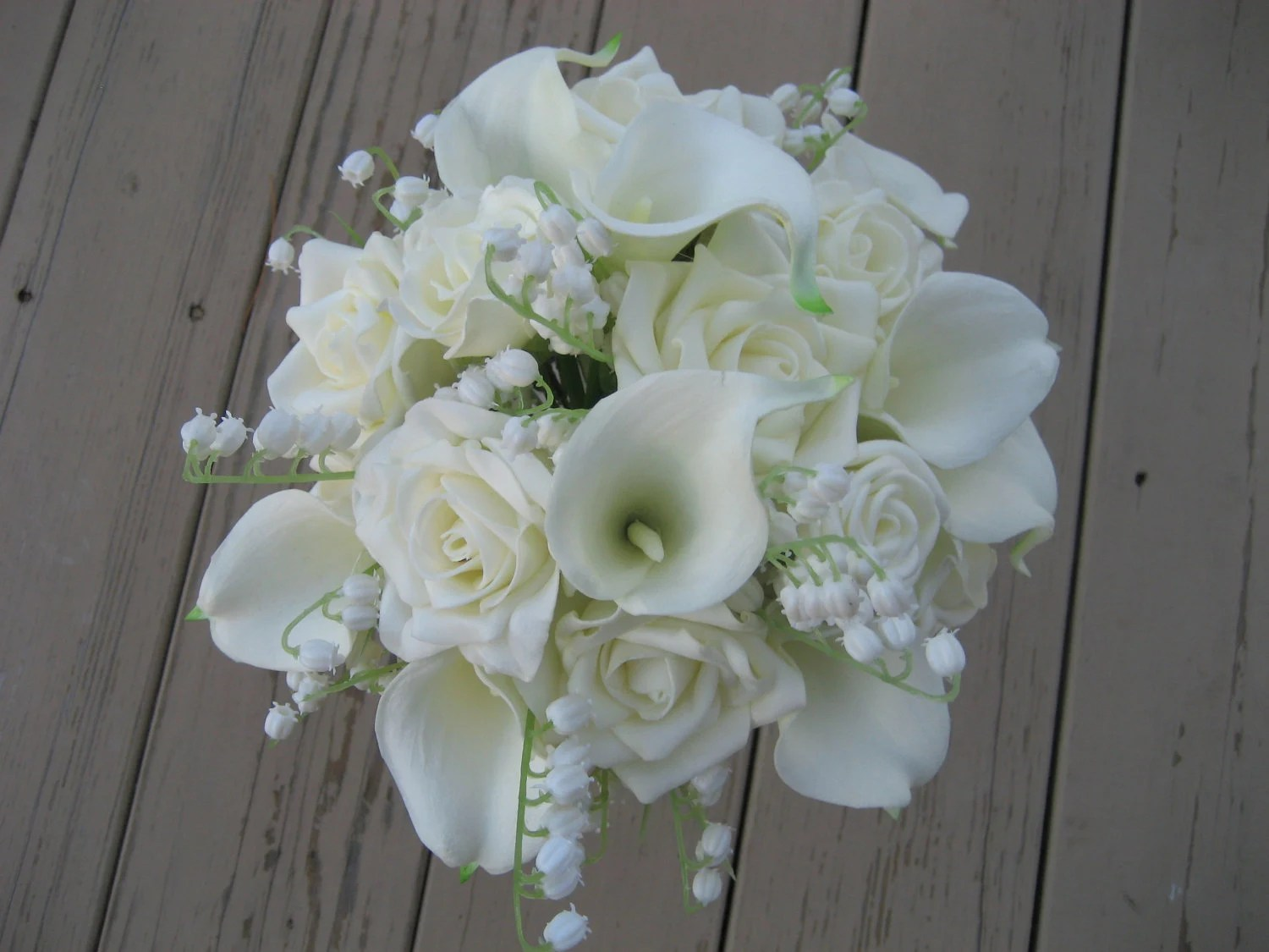 Wedding Bouquet All White Flowers Roses Lily Of By