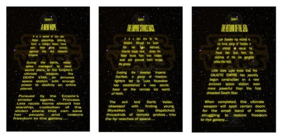 Items Similar To Digital Prints Of Star Wars Opening Text