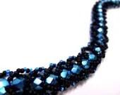 Intense Black and Blue Bracelet - Beadweaving Flat Spiral with Matte Black - MegansBeadedDesigns