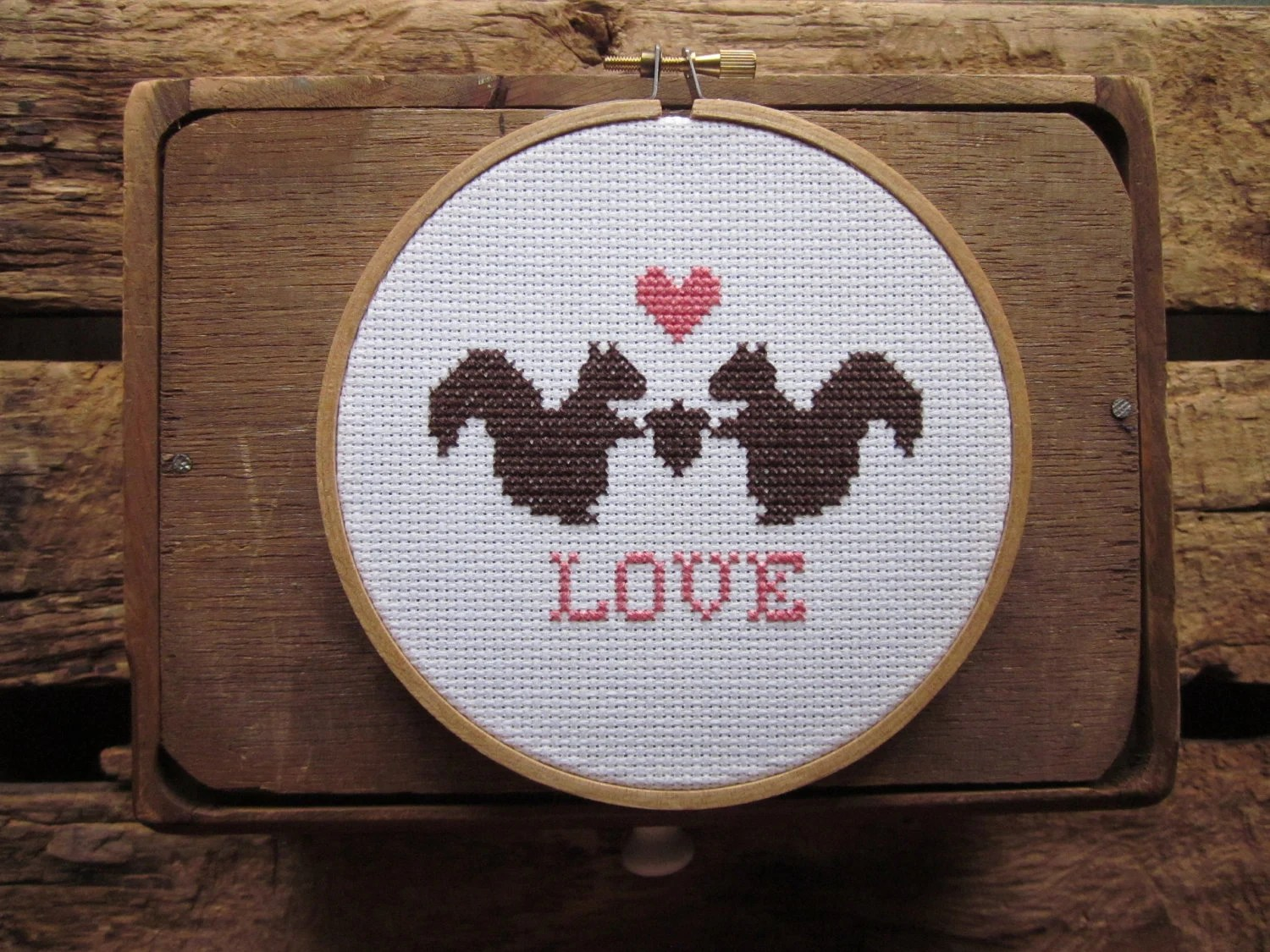 squirrelly love cross-stitch kit (includes pattern and materials) - ChezSucreChez