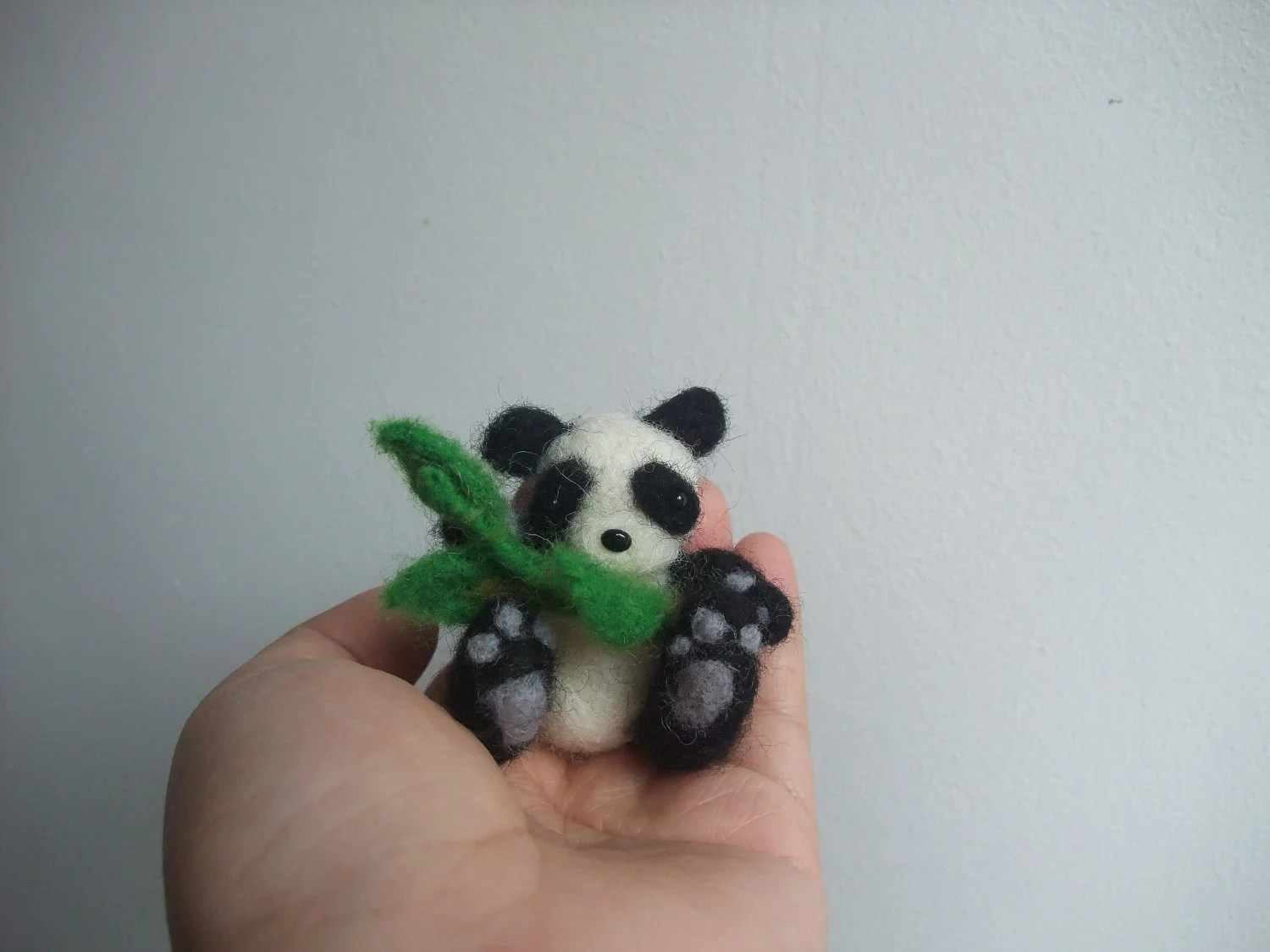 Needle felted minature panda with bamboo - kom2c