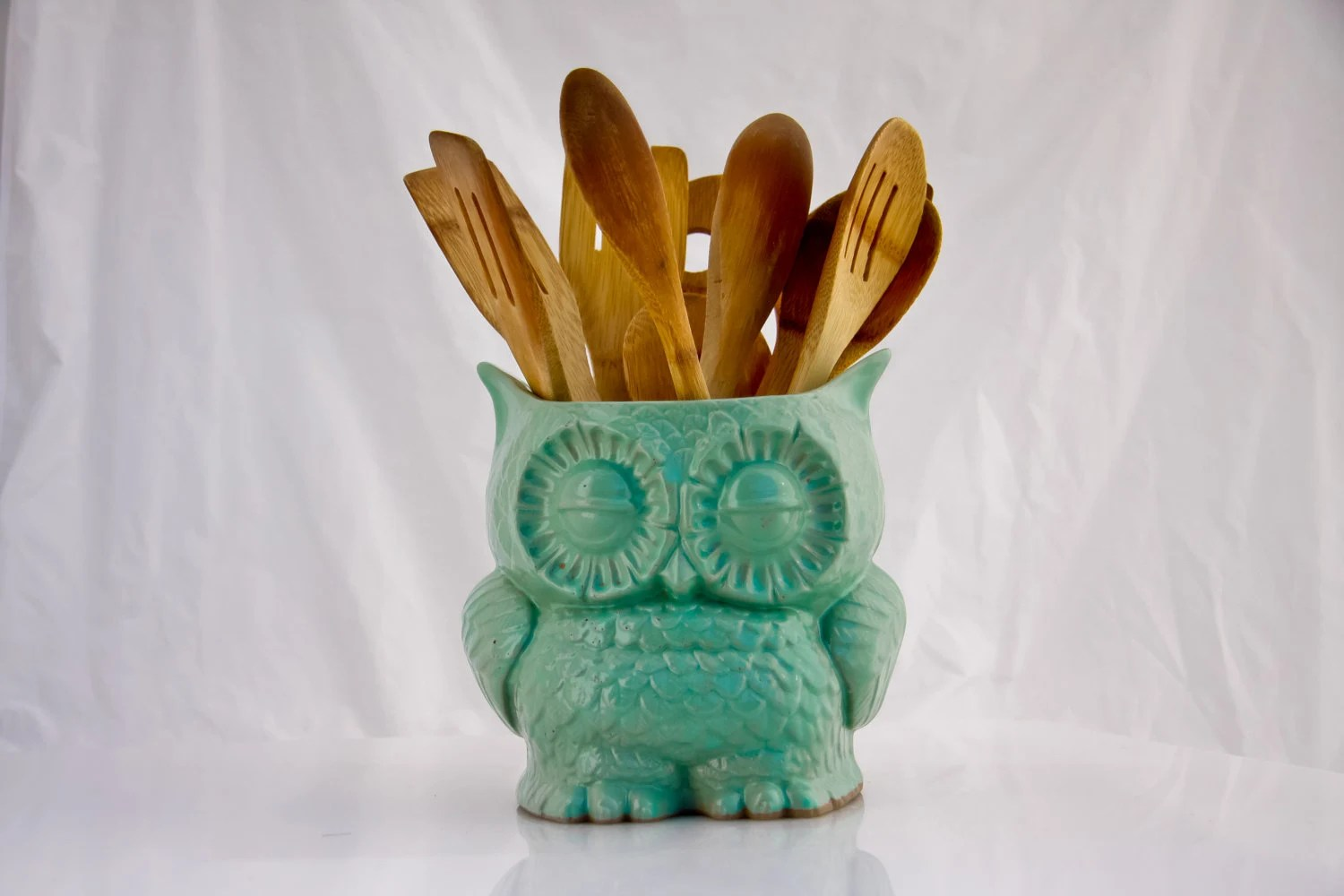 ceramic owl planter  in MINT large  vintage style home decor - claylicious