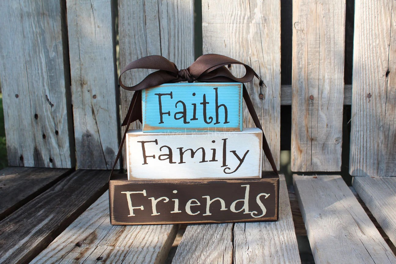 Faith Family Friends Wood Block Set Stacker Personalized