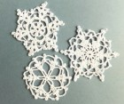 SALE Crocheted snowflakes, Christmas ornaments, white decorations, applique /set of 3/ - eljuks