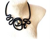 Irregular Fashion Statement - Crochet Necklace - Black Fractals - Artistic Labyrinth - Cocktail Jewelry by vanessahandmade - vanessahandmade