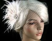 Wedding Hair Fascinator, Wedding Hair Accessories, Feather Hair Clip, Wedding Hair Clip, Bridal Fascinator, Wedding Hair, Ivory Fascinator