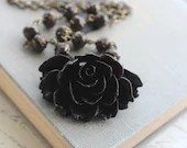 Black Rose Necklace Black Glass Beads Rose Pendant Necklace Vintage Style Gothic Romantic Modern Fashion,, Statement Necklace, Resin Jewelr - apocketofposies