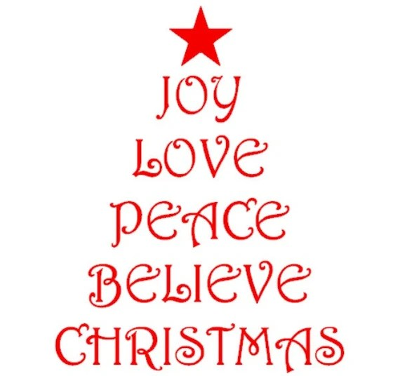 Download Christmas Tree shape with Christmas words Joy Love Peace