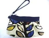 Navy Leaves Clutch/Wristlet - alaliz