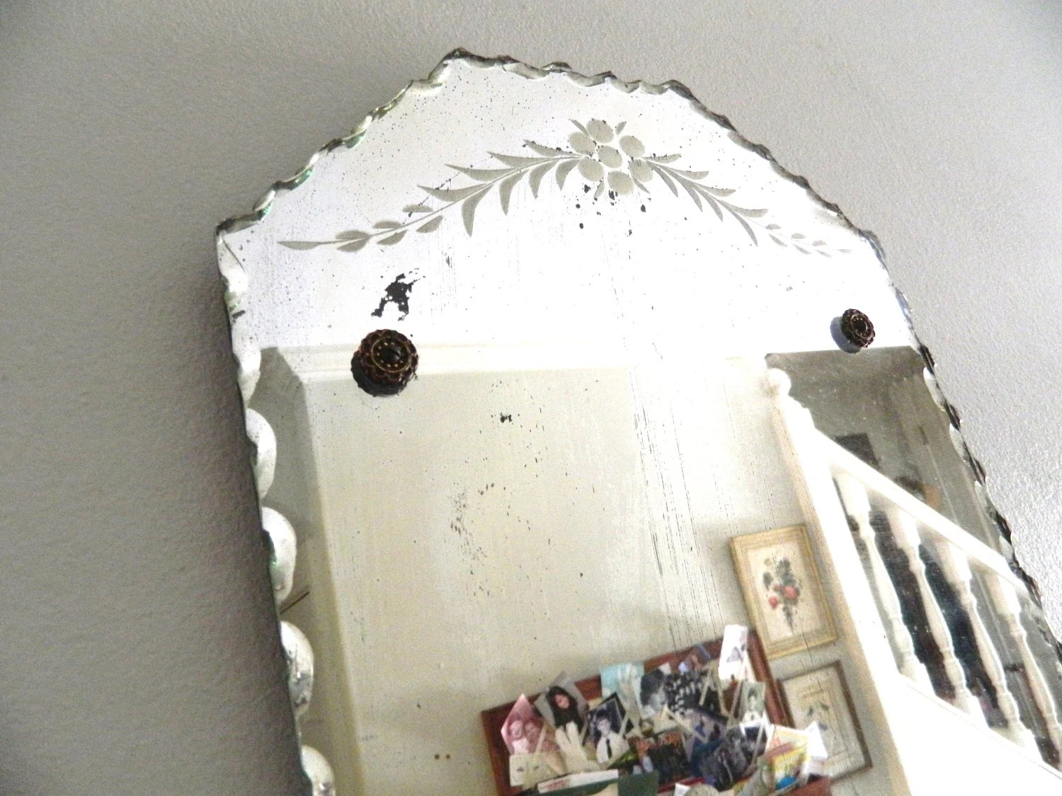 Vintage Etched Beveled Mirror Frameless Scalloped Edges