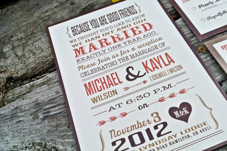 Items Similar To Wedding Reception Invitation: Rustic