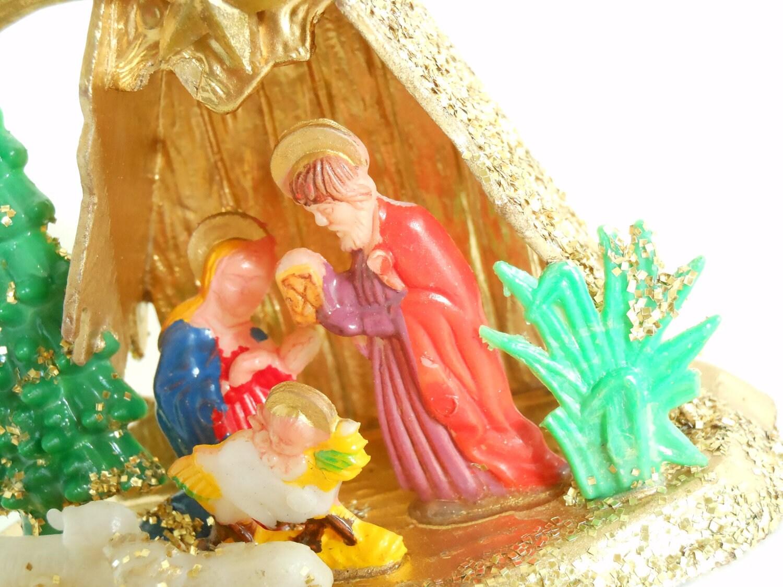 Vintage Glitter Nativity Scene Ornament
