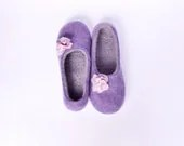 Felted wool slippers purple - Storow