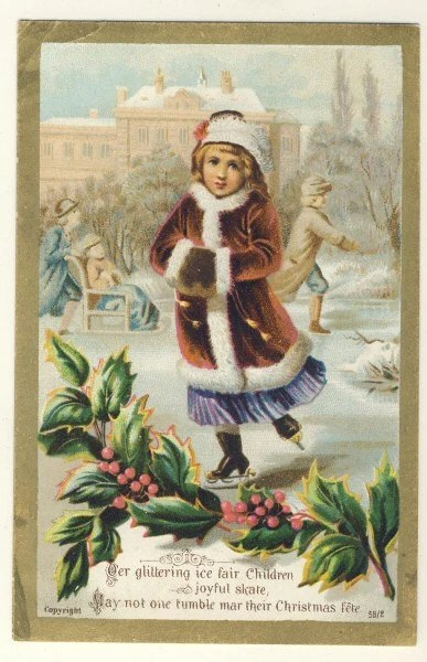 Victorian Antique Christmas Card Girl Ice Skating