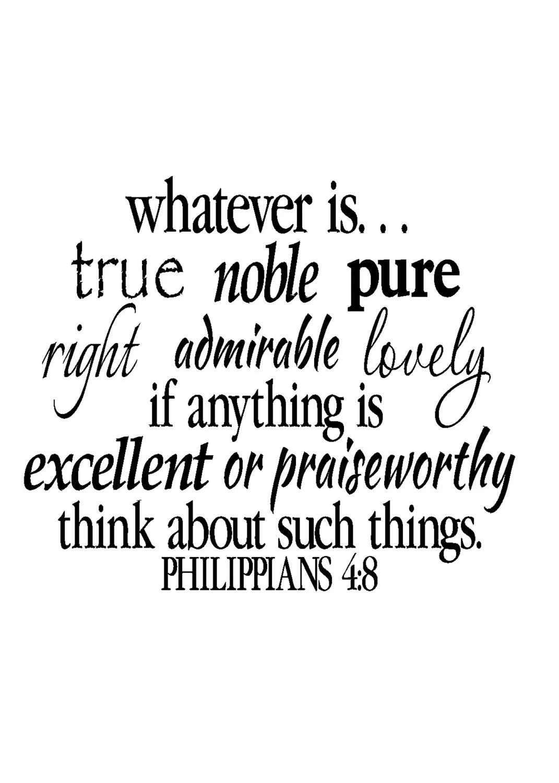 Philippians 4 8 Wall Art Bible Verse Vinyl Decal Scripture
