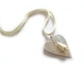 Silvery heart necklace with cream glass mother-of-pearl drop pendant - IndieLab
