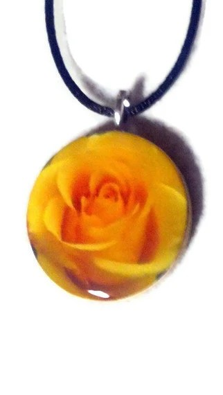 Yellow Rose of Texas Pendant Necklace Pendant - sherrollsdesigns
