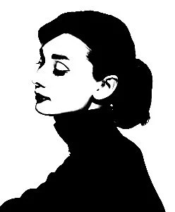 SALE 18x15 inch Audrey Hepburn, Vinyl transfer DIY for door, wood, metal, glass or wall art...Can be made white or black - VinylSkyGraphics