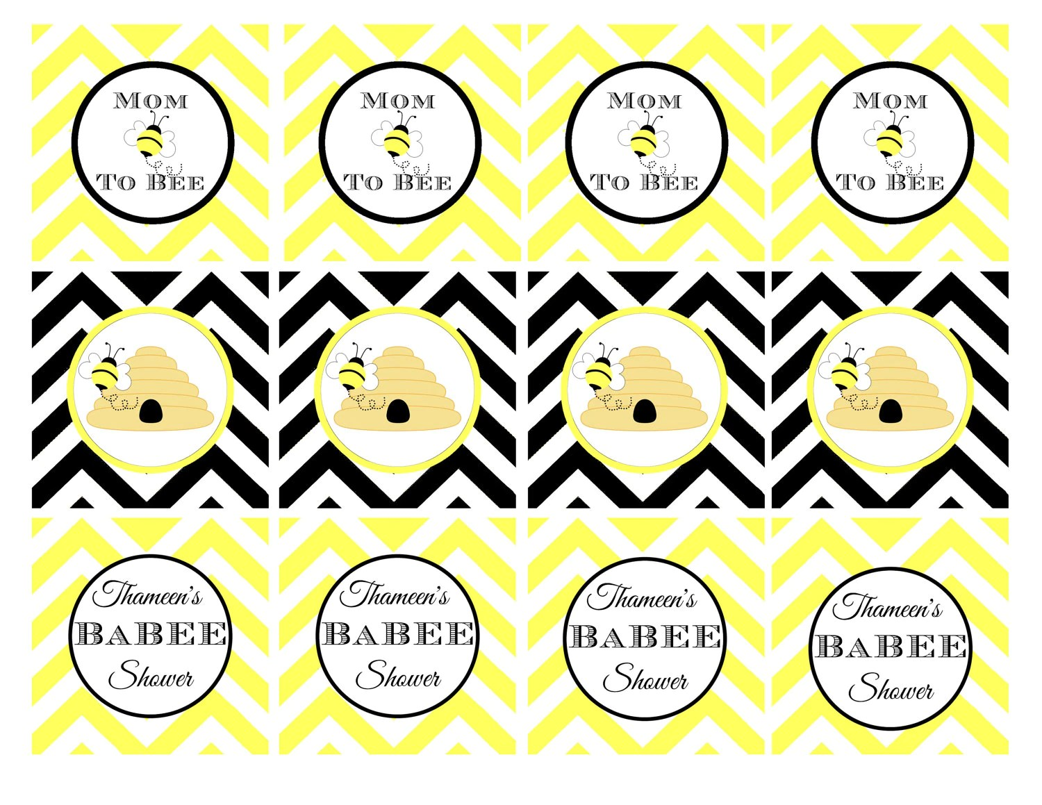 Printable Bumble Bee Baby Shower Cupcake Toppers 2