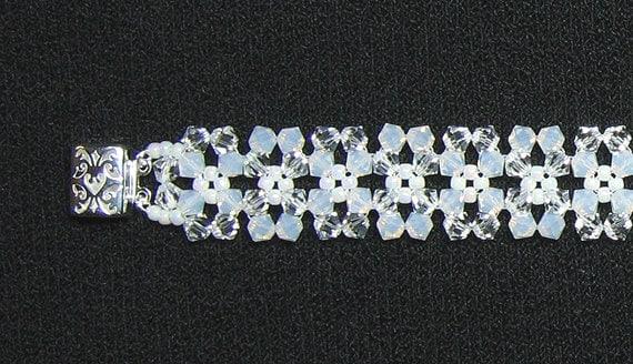 White opal crystal snowflake bracelet