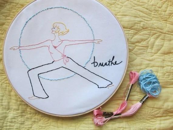 "PDF Embroidery Pattern-""Breathe"" yoga, meditation, & inspiration"