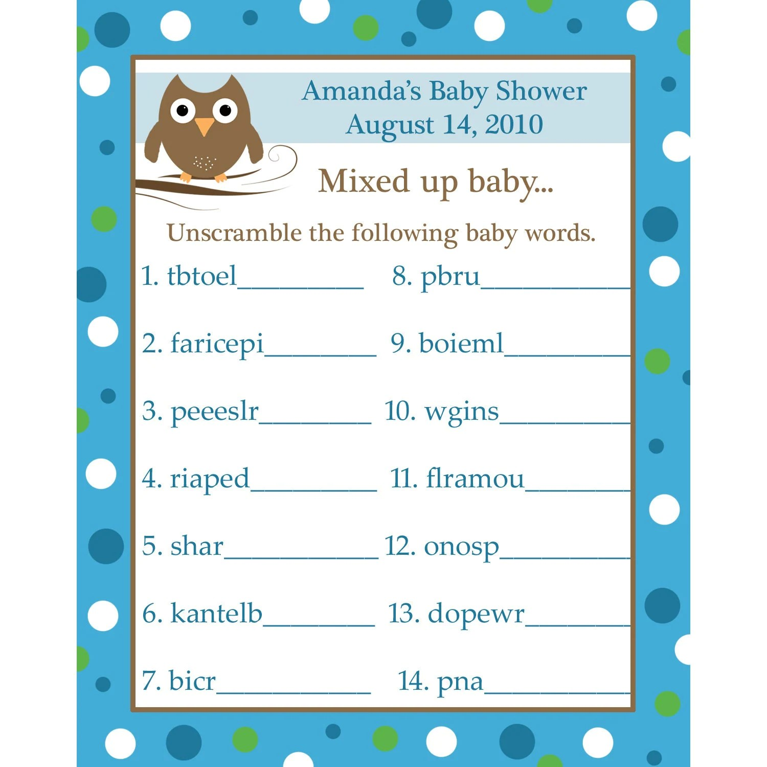 24 Personalized Word Scramble Baby Shower Game Cards By Partyplace