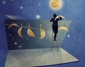 I love you to the moon and back - Fun home décor - Royal blue - Space room decor - Nursery decor - Astronomy print - 6x6 (15x15cm) - PhotographyDream