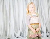Vintage style apron dress for girls in retro prints and ruffles, bohemian girls dress, sizes 12mos - 9/10 - MaggieBogart