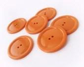 Tangerine big button -  6 vintage 2 holes plastic buttons 35mm - AnnyMayCraftSupplies