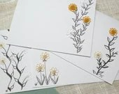 SALE Card blank Stationery with tiny Tatted Flowers and beads -Teeny Tats -012