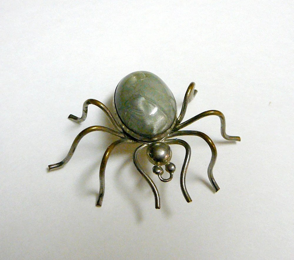 Novelty Jewelry Antique SPOOKY CREEPY Spider Pin Brooch Necklace Green Celluloid Body - EvelynnsAlcove