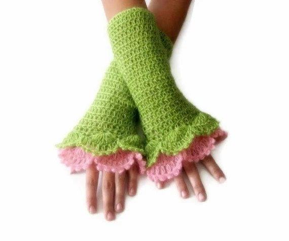 Crochet Fingerless Gloves , Green, Pink, Elegant, Shabby, Chic, Lace gloves - Iovelycrochet