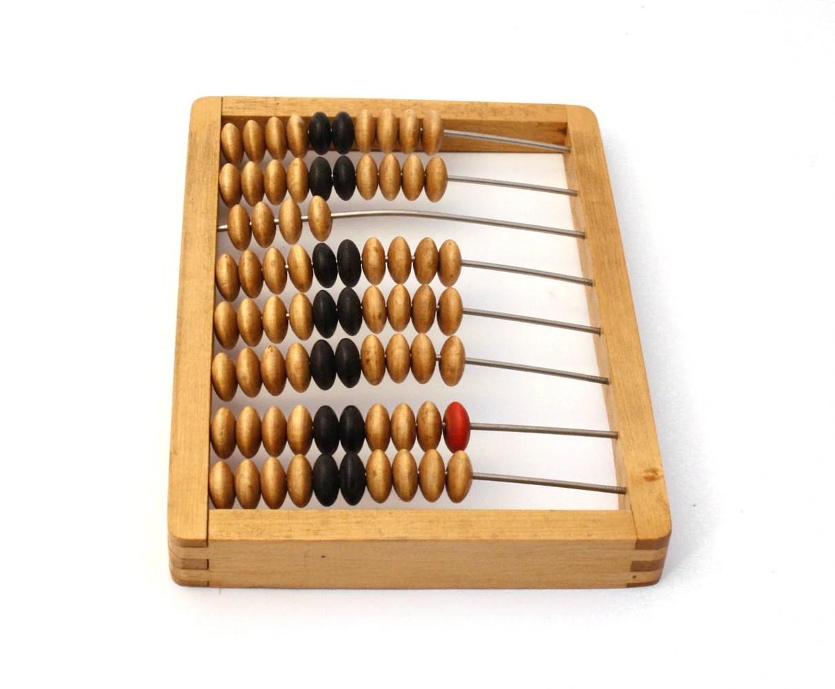 Back to school. Vintage wooden abacus, brown - sovietvintage