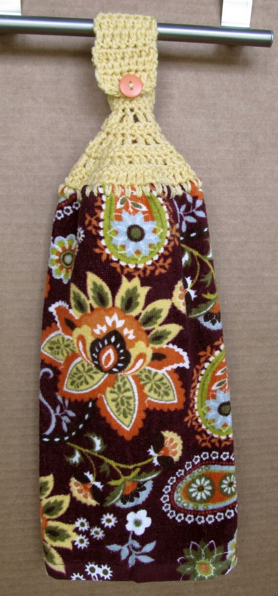 Gold and orange flower Hanging Kitchen Towel with crocheted top - sewspecialbylois