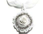Beautiful Rose White Pendant Necklace on white Lace Cord Beaded with a Polymer Clay Center Surrounded by Sparkling Rhinestones - MegansBeadedDesigns
