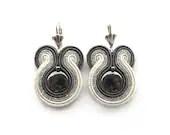 Cyber Monday Etsy Jewelry Sale. Bridal earrings, Fall Wedding, silver, grey, ecru, hematite, soutache earrings - soStudio