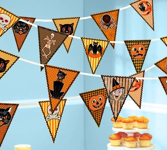 Vintage Beistle Halloween Bunting, DIY Printable