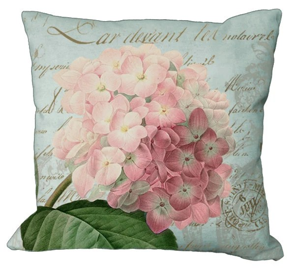 Romantic Pink Hydrangea on Natural or Aqua 20x20 or 18x18 or 16x16 or 14x14 Inch Pillow Cover - Soeuralasoeur