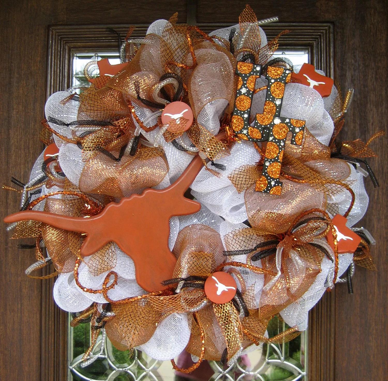 Deco Mesh UNIVERSITY Of TEXAS LONGHORNS Wreath