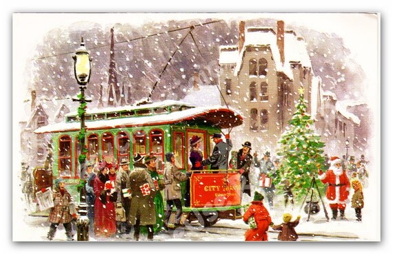 Vintage Christmas Card Trolley Winter Scene 1970 By 641Digital